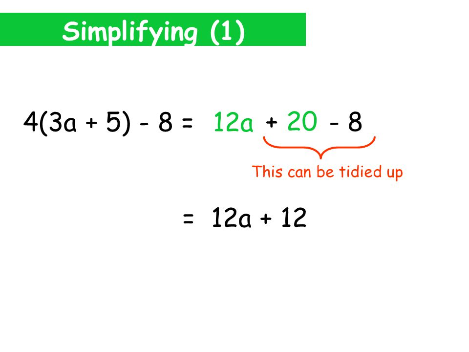 Simplifying (1) 4(3a + 5) - 8 = 12a 4 5 + 20 This is not inside the brackets So don't multiply.