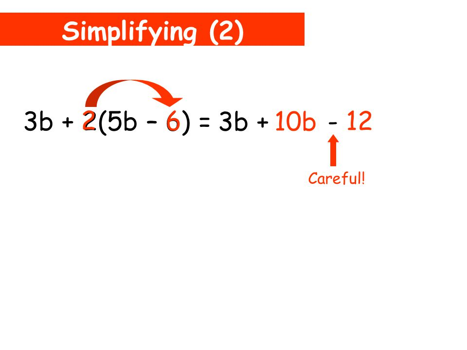 Simplifying (2) 3b + 2(5b – 6) = 10b 2 5b 3b + This is not inside the brackets So don't multiply!