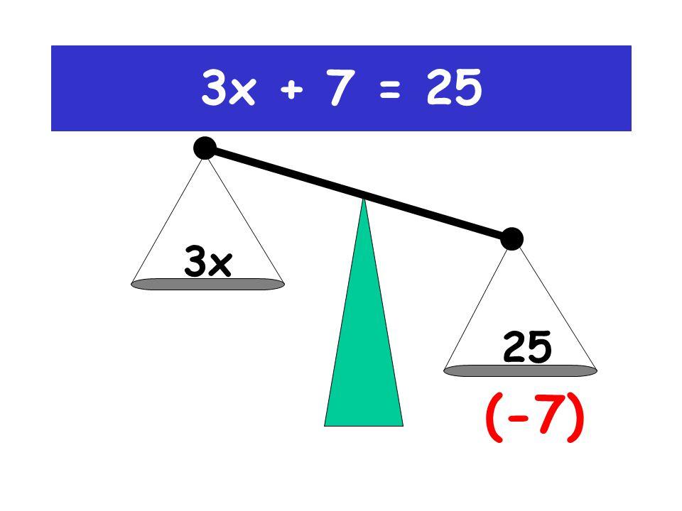 3x+7 25 (-7) 3x + 7 = 25
