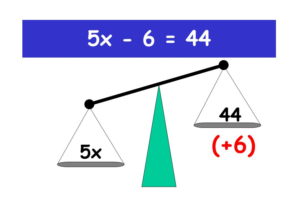 5x-6 44 (+6) 5x - 6 = 44
