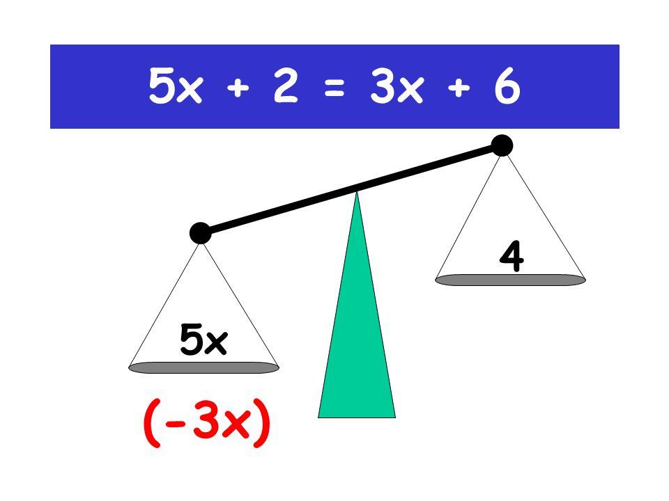 5x 3x+4 (-3x) 5x + 2 = 3x + 6