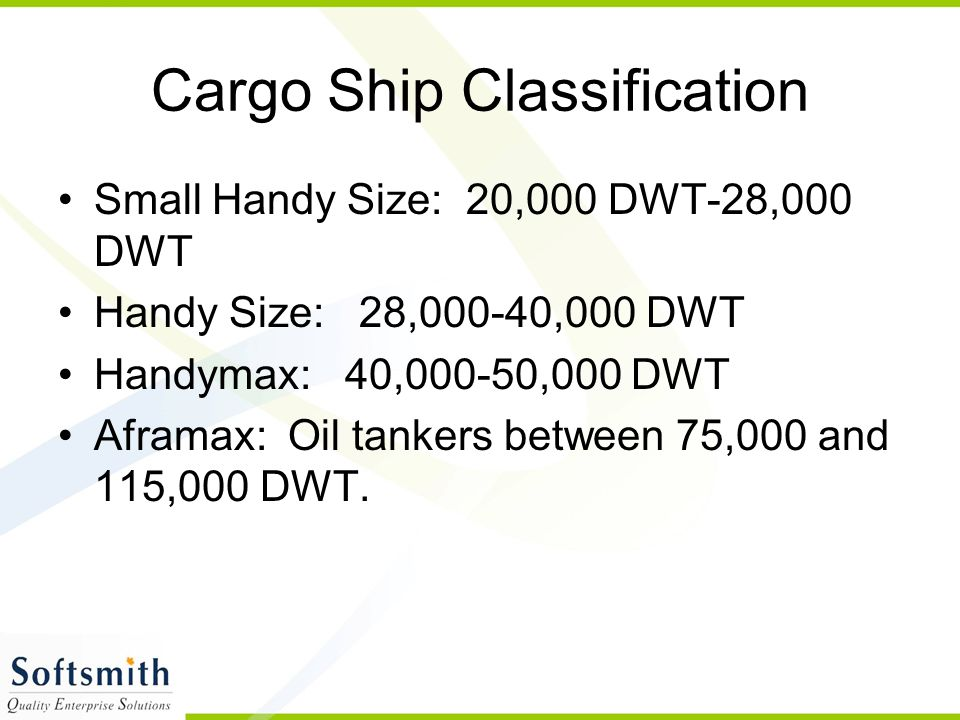 Cargo Ship Classification Small Handy Size: 20,000 DWT-28,000 DWT Handy Size: 28,000-40,000 DWT Handymax: 40,000-50,000 DWT Aframax: Oil tankers betwe