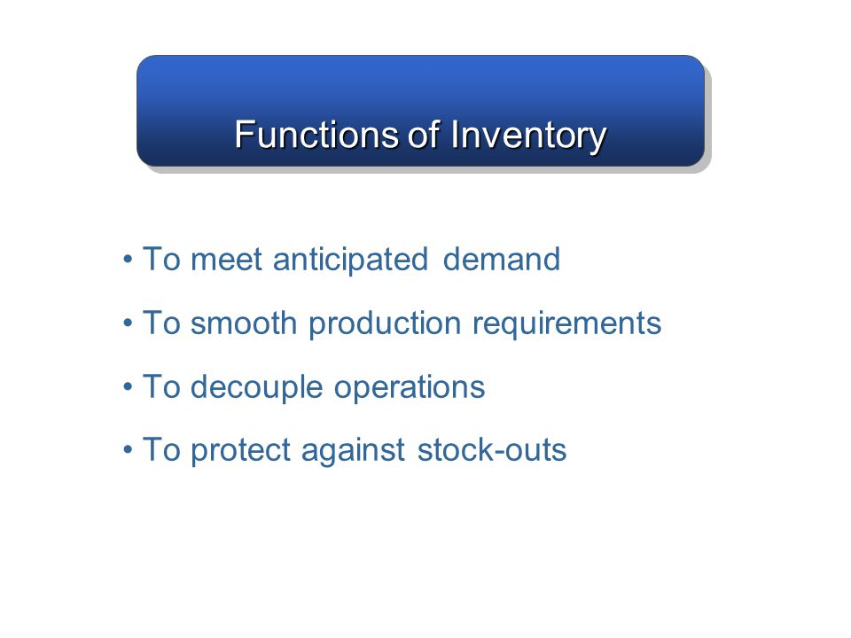 Functions of Inventory To meet anticipated demand To smooth production requirements To decouple operations To protect against stock-outs