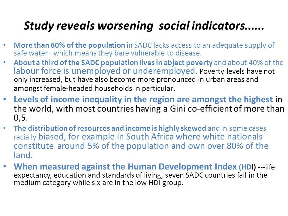 Study reveals worsening social indicators......