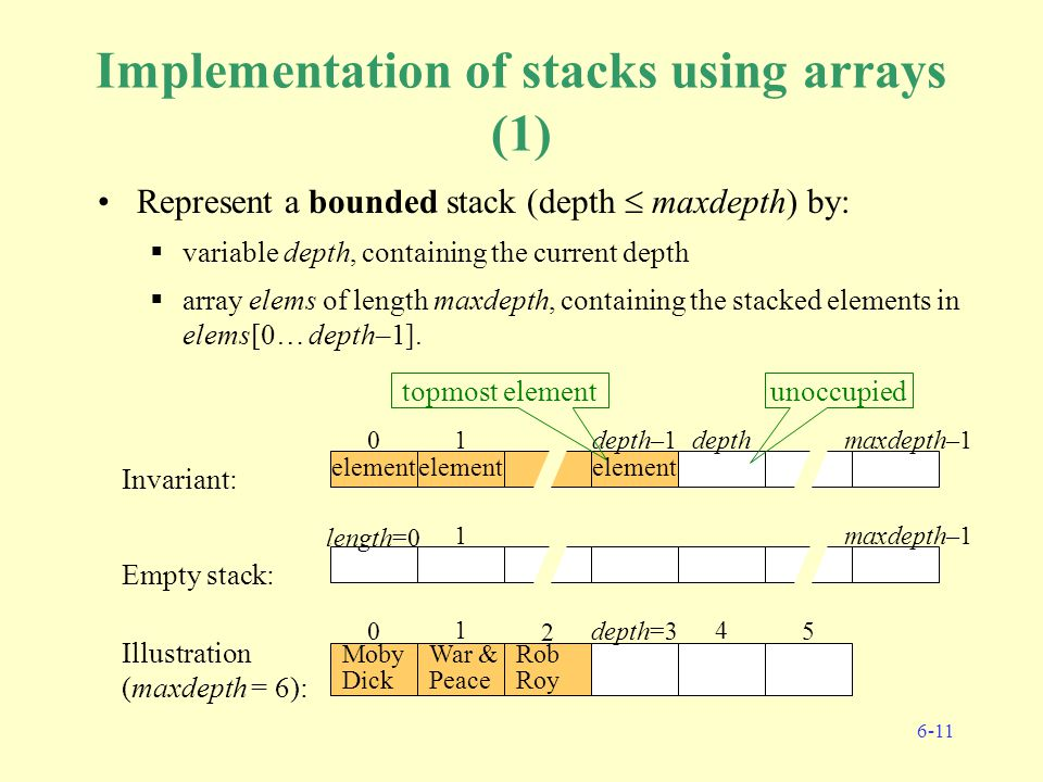 6-11 Implementation of stacks using arrays (1) Represent a bounded stack (depth  maxdepth) by:  variable depth, containing the current depth  array elems of length maxdepth, containing the stacked elements in elems[0… depth–1].
