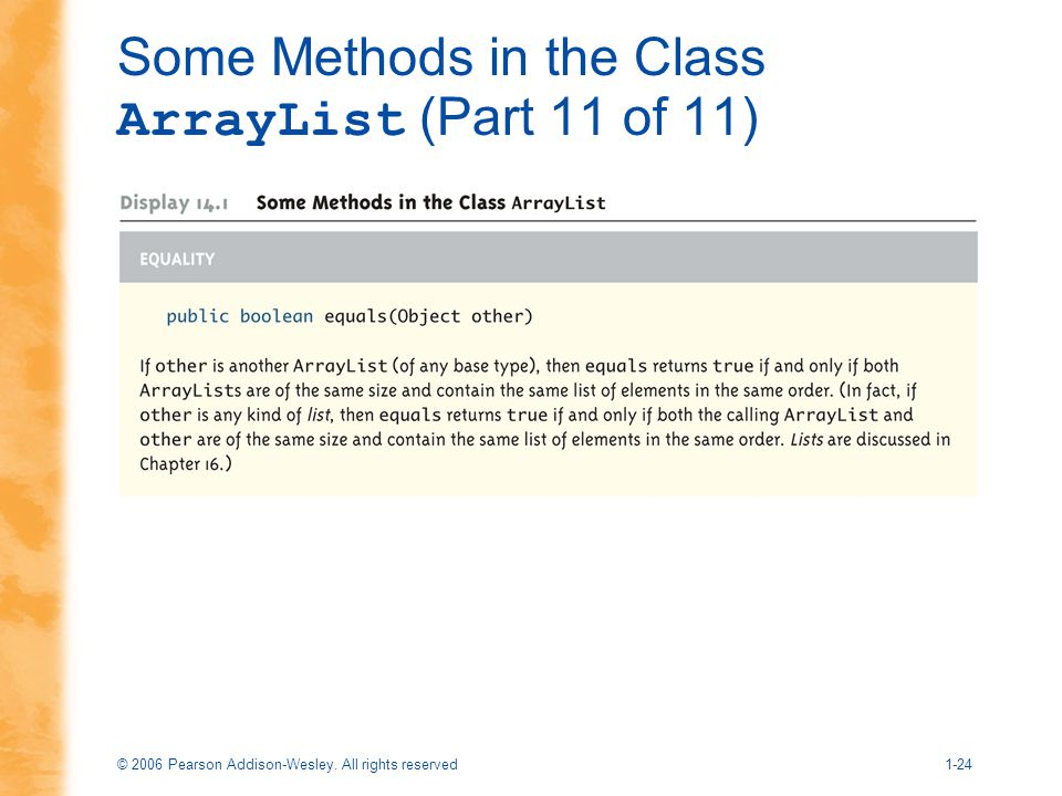 © 2006 Pearson Addison-Wesley. All rights reserved1-24 Some Methods in the Class ArrayList (Part 11 of 11)