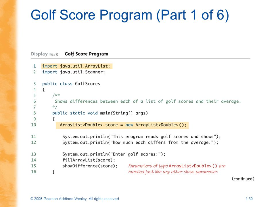 © 2006 Pearson Addison-Wesley. All rights reserved1-30 Golf Score Program (Part 1 of 6)