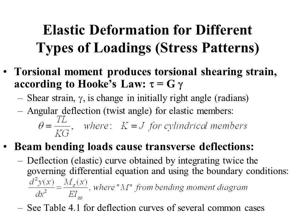 Elastic Deformation for Different Types of Loadings (Stress Patterns) Torsional moment produces torsional shearing strain, according to Hooke's Law:  = G  –Shear strain, , is change in initially right angle (radians) –Angular deflection (twist angle) for elastic members: Beam bending loads cause transverse deflections: –Deflection (elastic) curve obtained by integrating twice the governing differential equation and using the boundary conditions: –See Table 4.1 for deflection curves of several common cases
