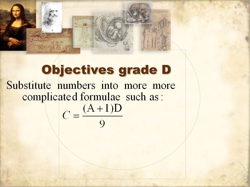 Objectives grade D