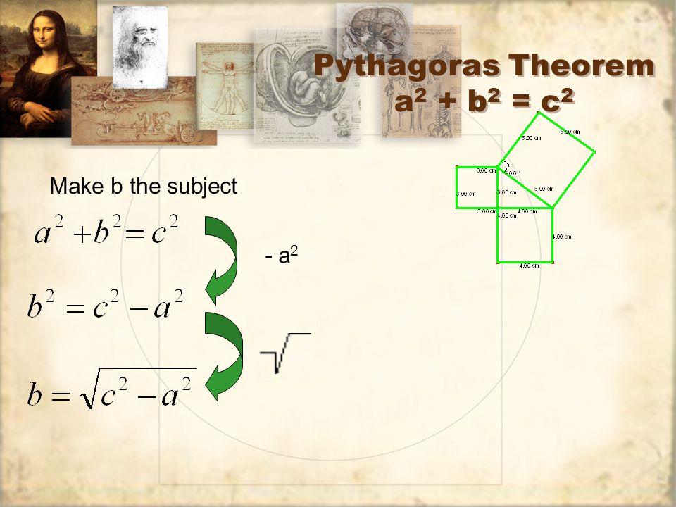 Pythagoras Theorem a 2 + b 2 = c 2 Make b the subject - a 2