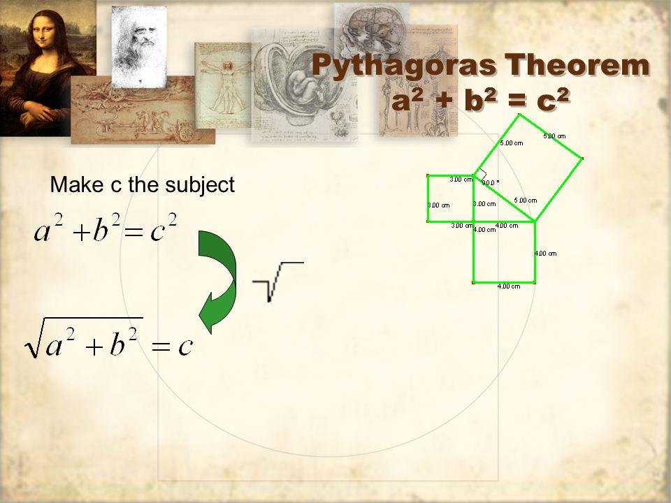 Pythagoras Theorem a 2 + b 2 = c 2 Make c the subject