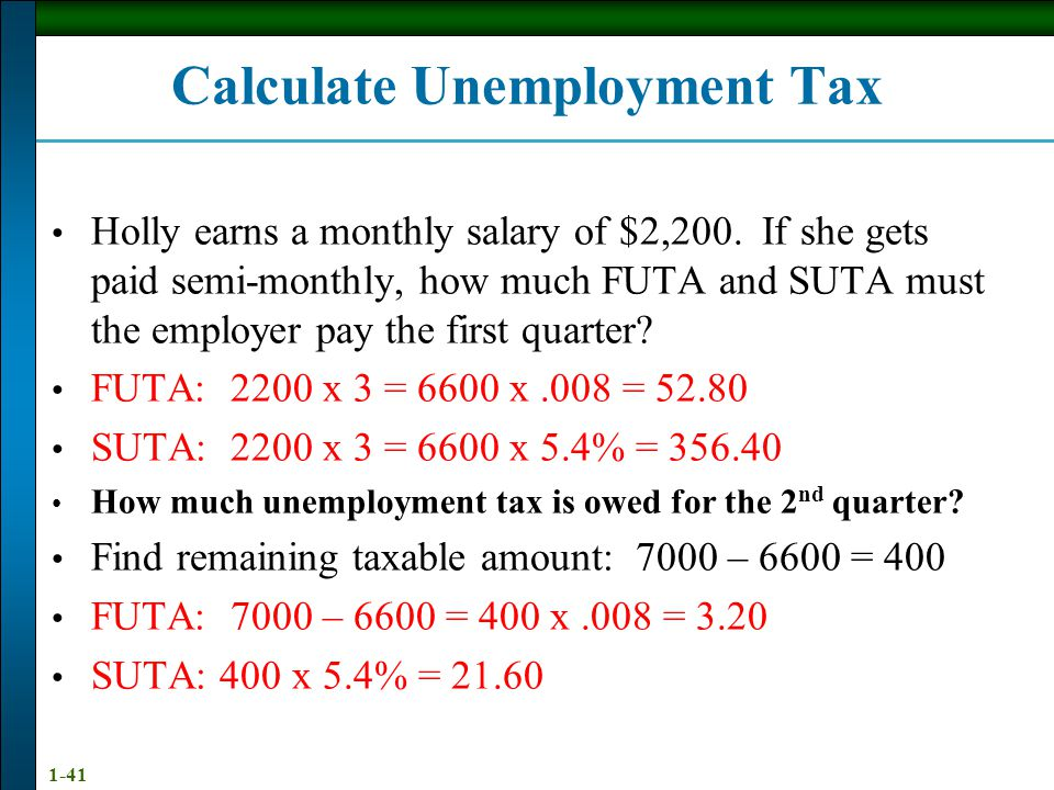 1-40 Employers' UnemploymentTaxes Federal Unemployment Tax Act (FUTA)- 6.2% tax on the first $7,000 paid to employees as wages during the calendar yea