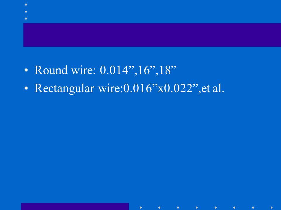 """Round wire: 0.014"""",16"""",18"""" Rectangular wire:0.016""""x0.022"""",et al."""