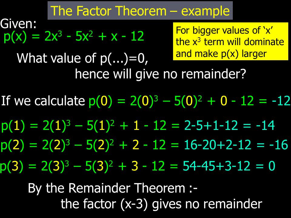 Given: p(x) = 2x 3 - 5x 2 + x - 12 What value of p(...)=0, hence will give no remainder? The Factor Theorem – example If we calculate p(0) = 2(0) 3 –