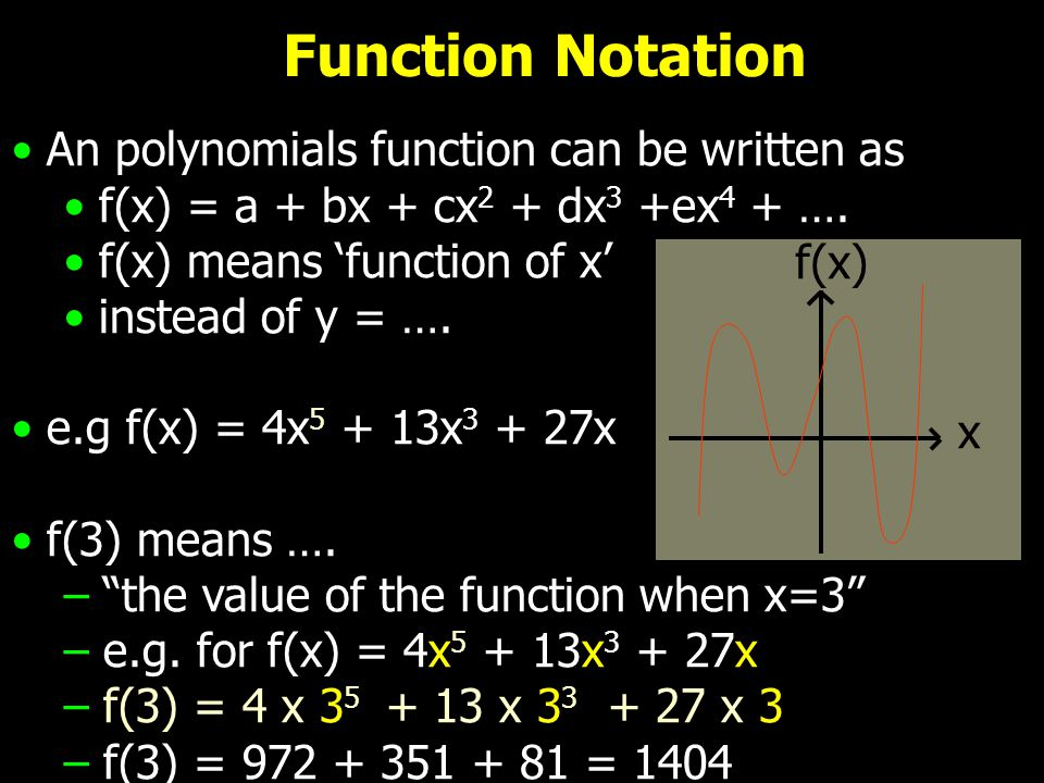 Function Notation An polynomials function can be written as f(x) = a + bx + cx 2 + dx 3 +ex 4 + …. f(x) means 'function of x' instead of y = …. e.g f(