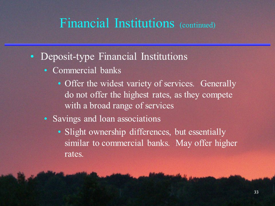 Financial Institutions (continued) Deposit-type Financial Institutions Commercial banks Offer the widest variety of services. Generally do not offer t