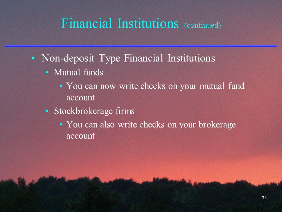 Financial Institutions (continued) Non-deposit Type Financial Institutions Mutual funds You can now write checks on your mutual fund account Stockbrok