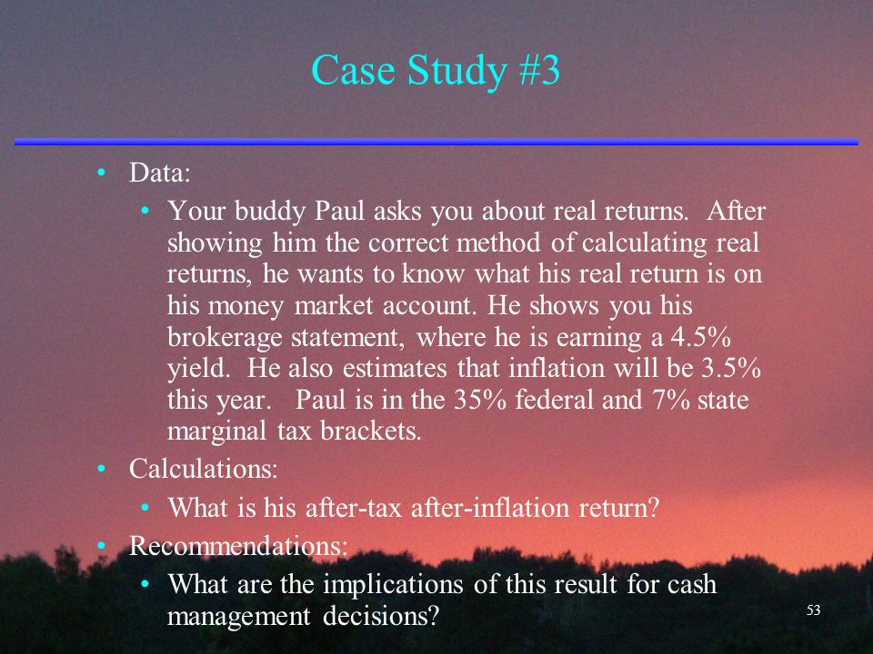 Case Study #3 Data: Your buddy Paul asks you about real returns. After showing him the correct method of calculating real returns, he wants to know wh