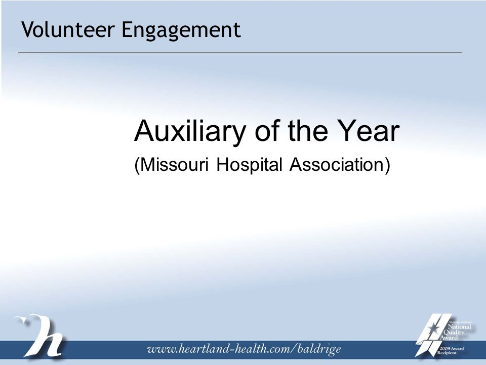Auxiliary of the Year (Missouri Hospital Association) Volunteer Engagement