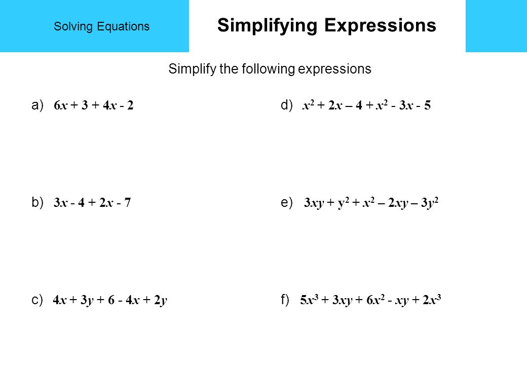 Solving Equations Additional Notes