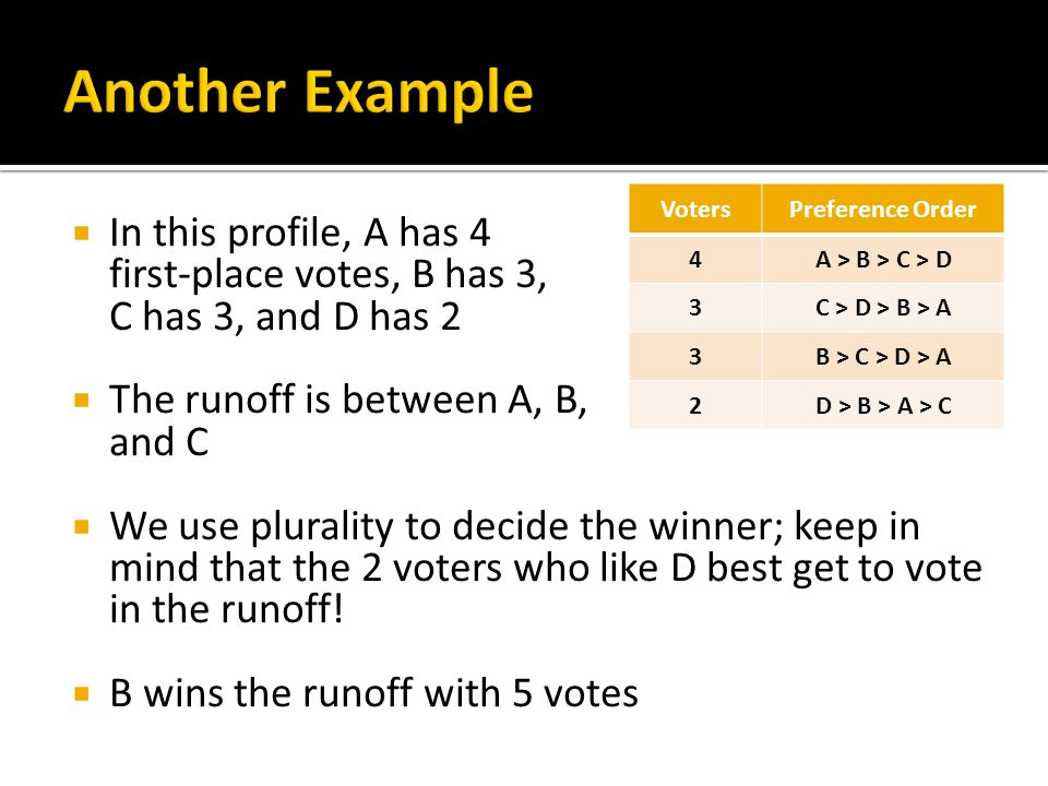  In this profile, A has 4 first-place votes, B has 3, C has 3, and D has 2  The runoff is between A, B, and C  We use plurality to decide the winne
