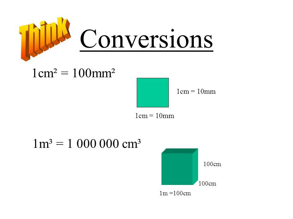 Conversions 1cm² = 100mm² 1cm = 10mm 1m³ = 1 000 000 cm³ 1m =100cm 100cm