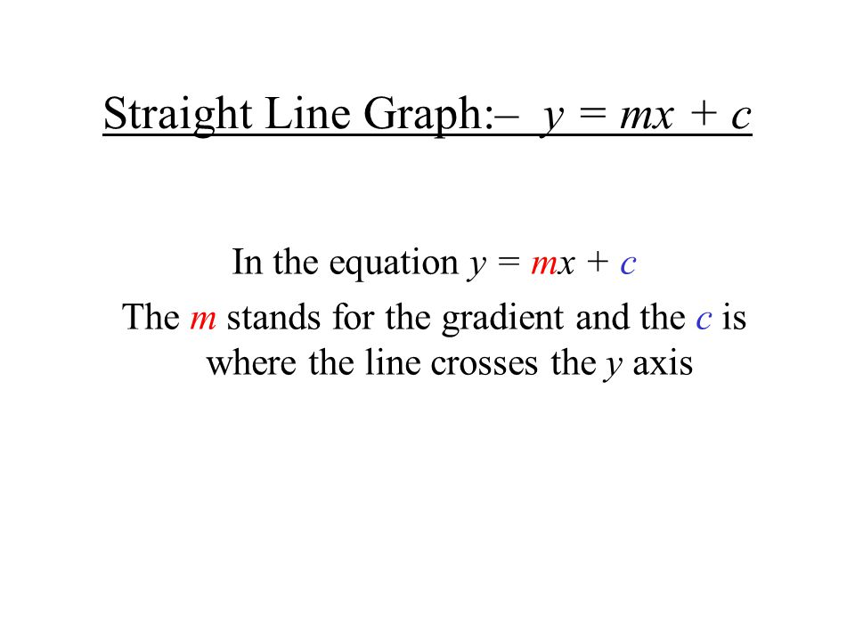 Straight Line Graph:– y = mx + c In the equation y = mx + c The m stands for the gradient and the c is where the line crosses the y axis