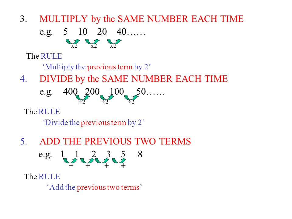 3.MULTIPLY by the SAME NUMBER EACH TIME e.g.