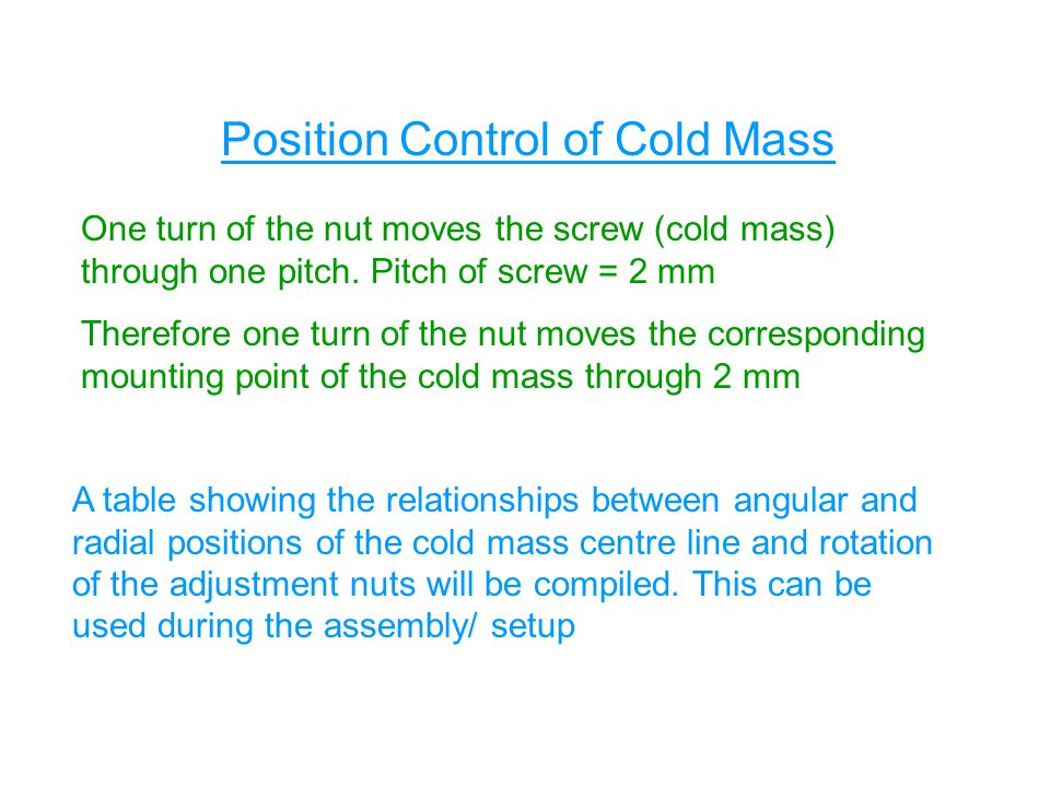 One turn of the nut moves the screw (cold mass) through one pitch.
