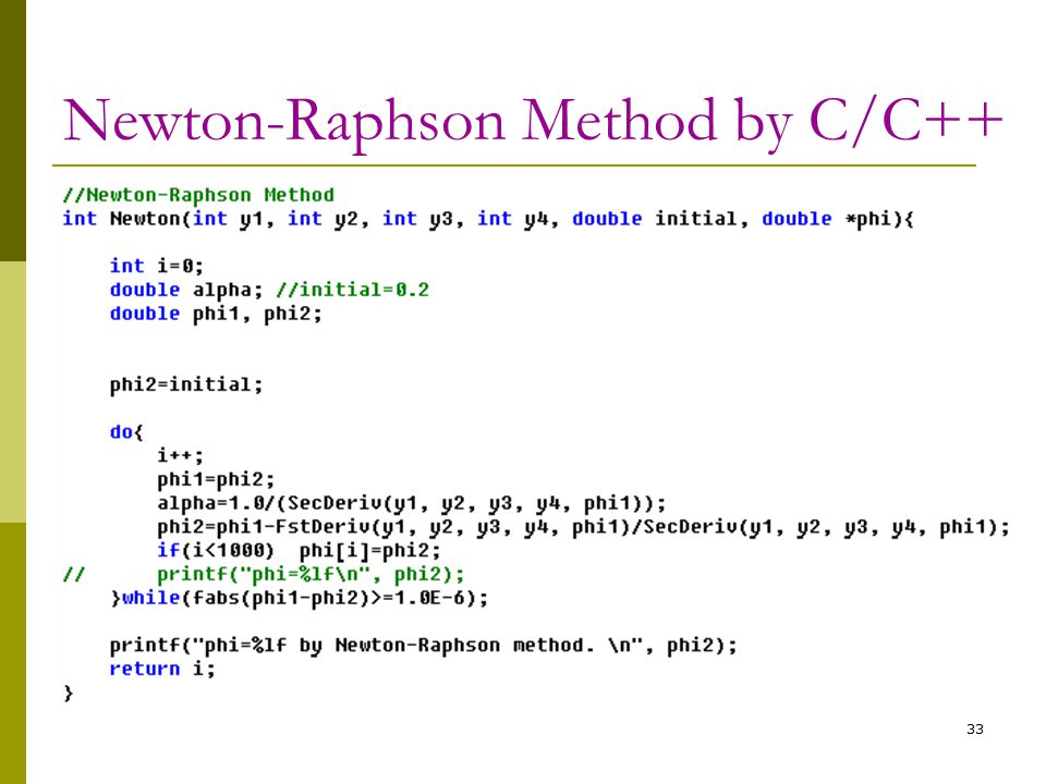 33 Newton-Raphson Method by C/C++