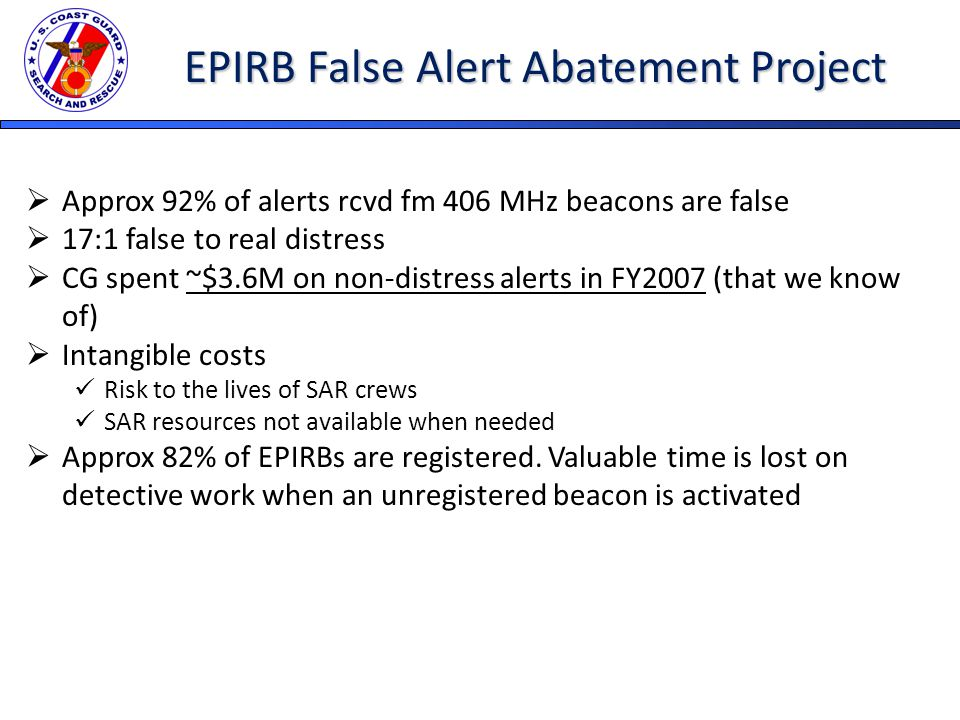 EPIRB False Alert Abatement Project  Approx 92% of alerts rcvd fm 406 MHz beacons are false  17:1 false to real distress  CG spent ~$3.6M on non-distress alerts in FY2007 (that we know of)  Intangible costs Risk to the lives of SAR crews SAR resources not available when needed  Approx 82% of EPIRBs are registered.