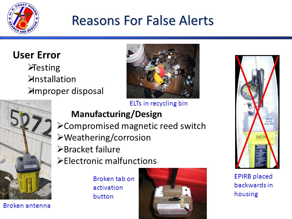 Reasons For False Alerts User Error  Testing  Installation  Improper disposal Manufacturing/Design  Compromised magnetic reed switch  Weathering/corrosion  Bracket failure  Electronic malfunctions EPIRB placed backwards in housing Broken antenna ELTs in recycling bin Broken tab on activation button