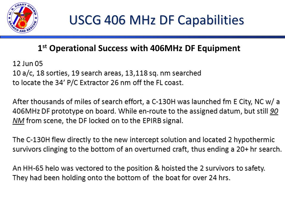 USCG 406 MHz DF Capabilities 1 st Operational Success with 406MHz DF Equipment 12 Jun 05 10 a/c, 18 sorties, 19 search areas, 13,118 sq.