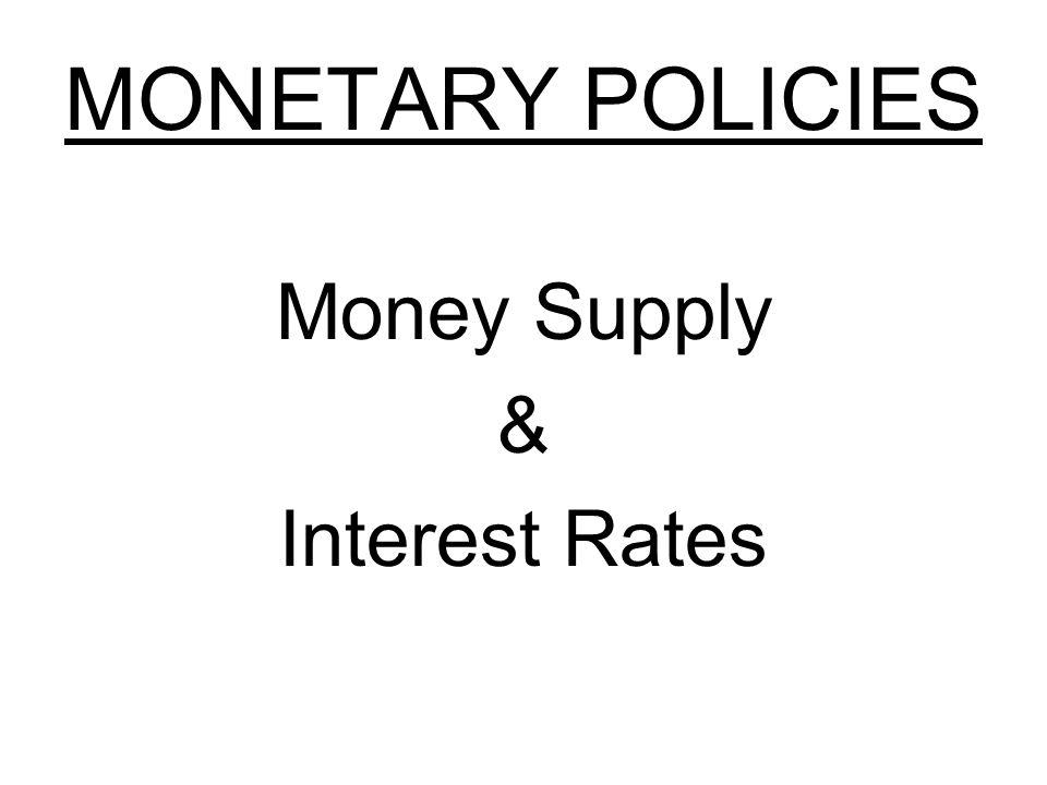 MONETARY POLICIES Money Supply & Interest Rates