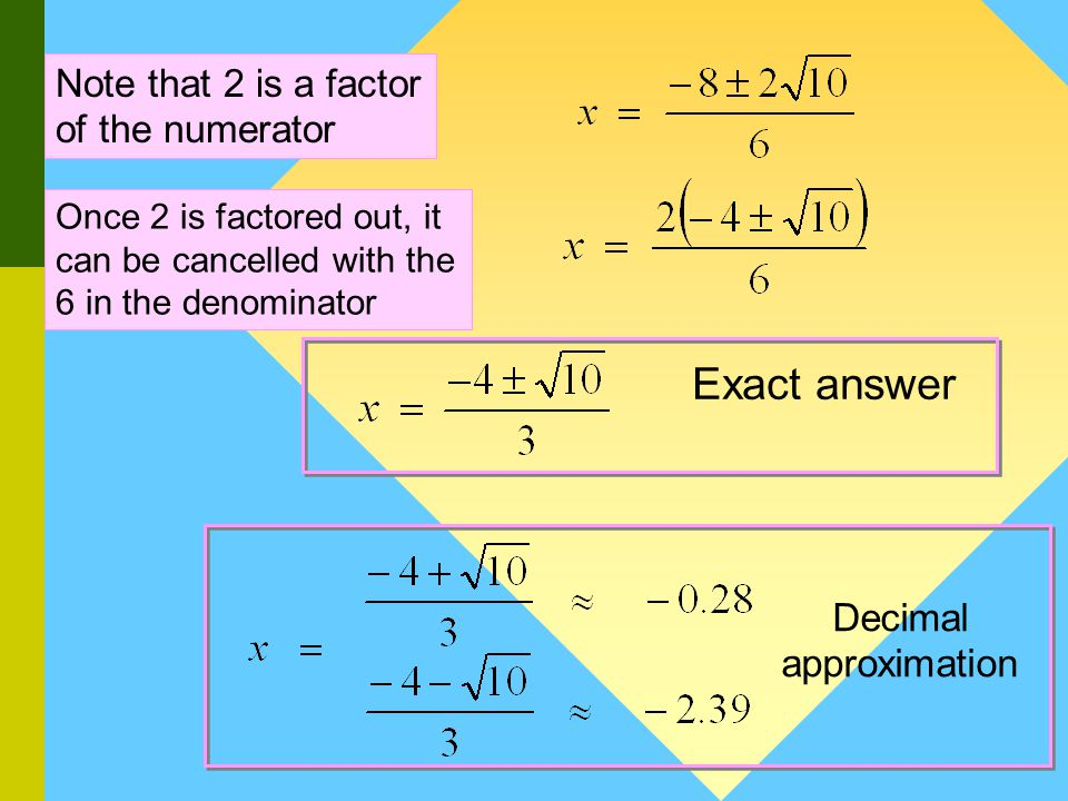 Method 2 : Quadratic Formula Example 2 : a = 3 b = 8 and c = 2 Step 1: Determine the values of a, b and c Step 2: Substitute the values of a, b and c Step 3: Simplify See next slide This step is optional.