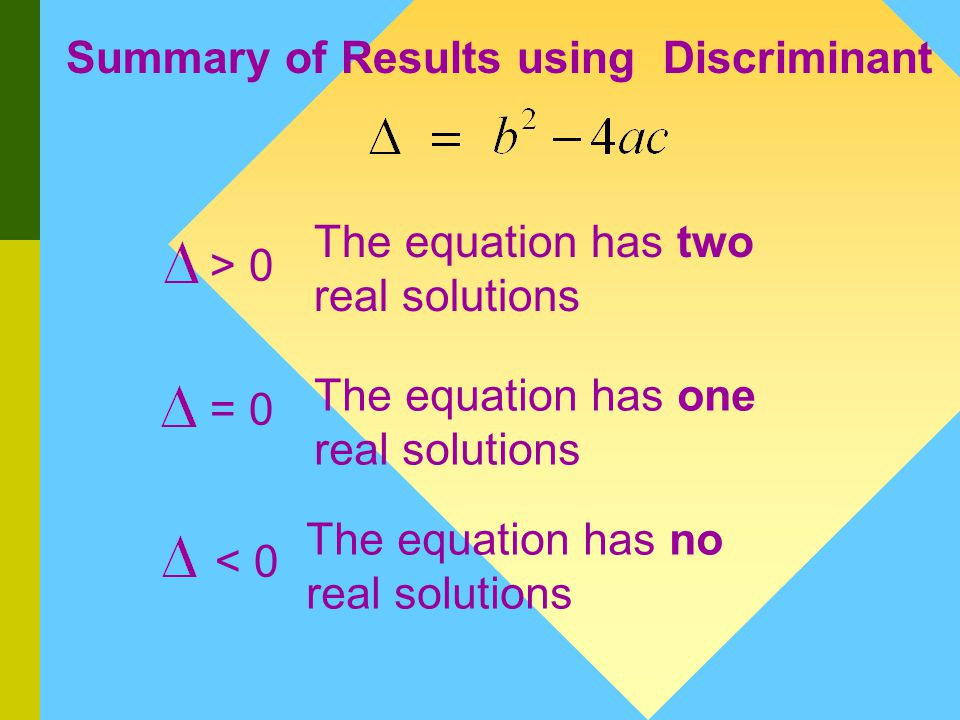 The Discriminant The discriminant is a quick way to check how many real solutions exist for a given quadratic equation.