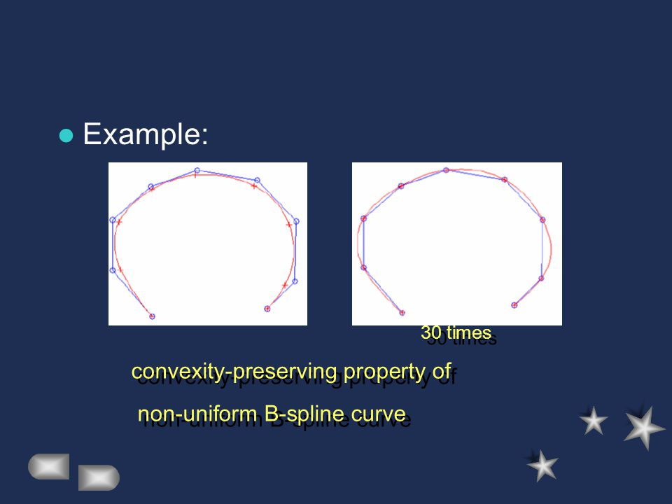 Example: convexity-preserving property of non-uniform B-spline curve convexity-preserving property of non-uniform B-spline curve 30 times