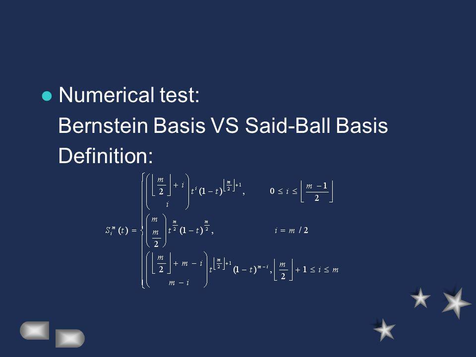 Numerical test: Bernstein Basis VS Said-Ball Basis Definition:
