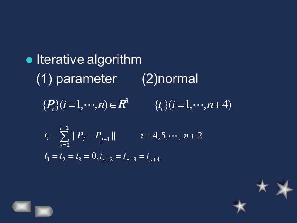 Iterative algorithm (1) parameter (2)normal
