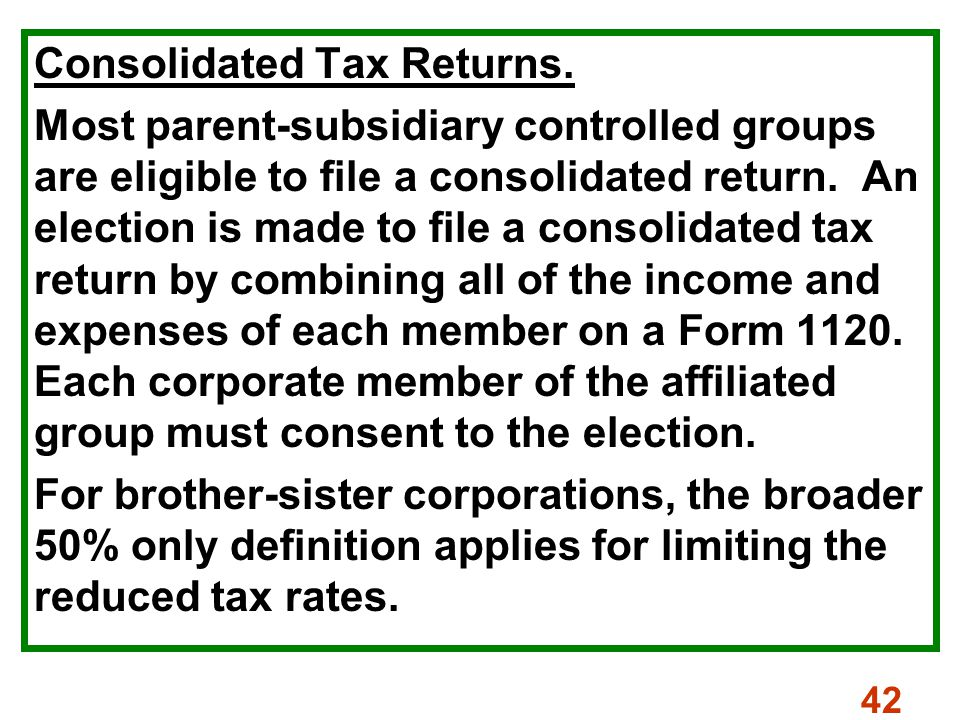 42 Consolidated Tax Returns.