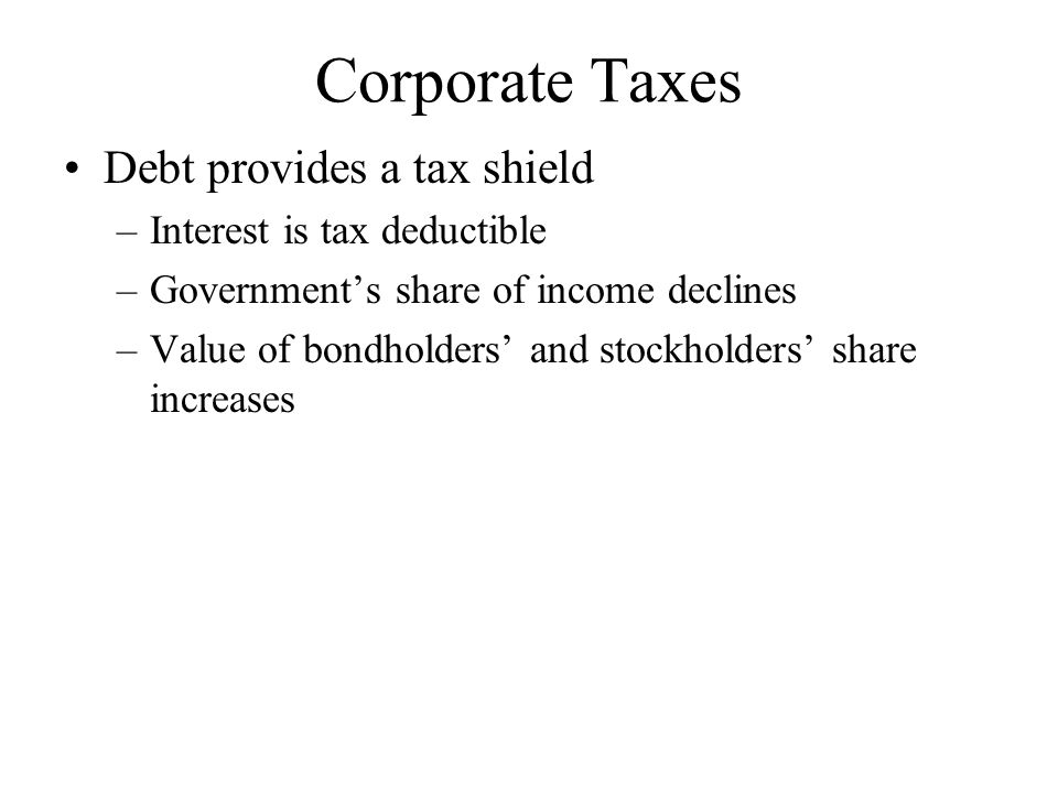 Present Value of Tax Shield Present value of tax shield If debt is assumed to be a perpetuity