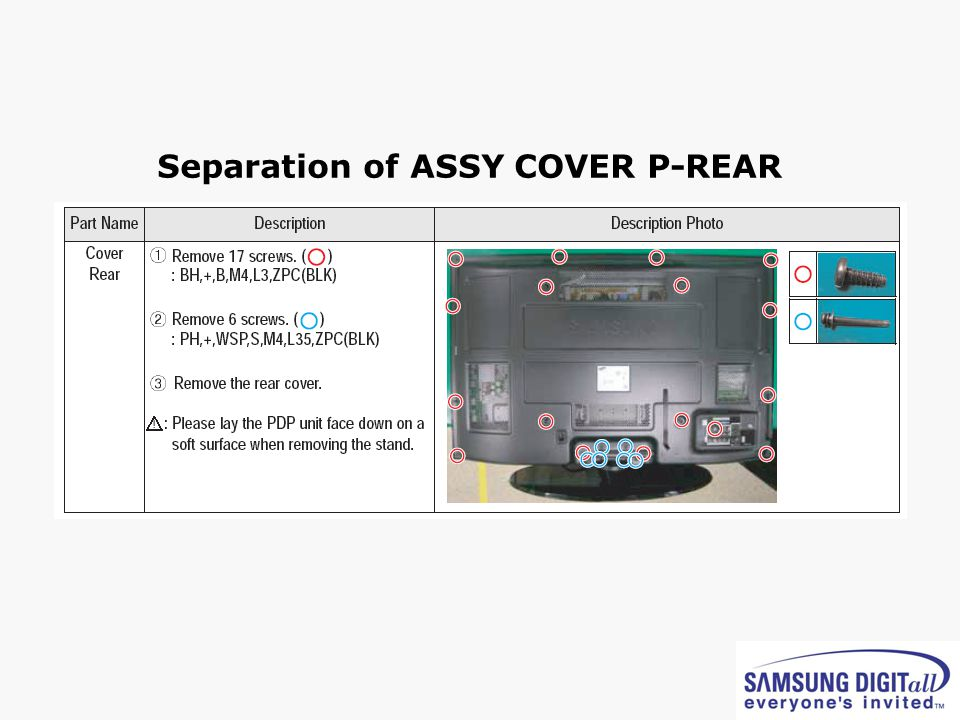 Separation of ASSY COVER P-REAR