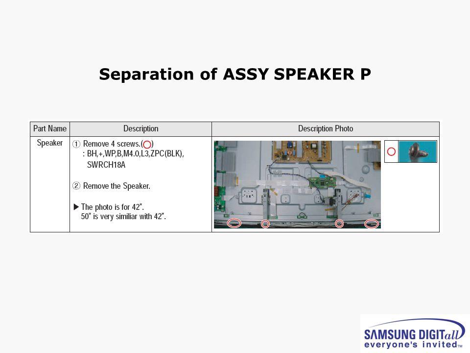 Separation of ASSY SPEAKER P