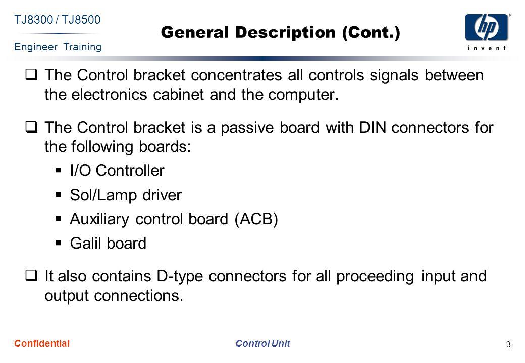 Engineer Training Control Unit TJ8300 / TJ8500 Confidential 4 I/O (Type I) Controller  The I/O (type I) controller is placed on the control bracket.