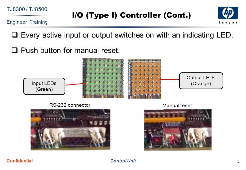 Engineer Training Control Unit TJ8300 / TJ8500 Confidential 6 Solenoid Amplifier Driver  The Sol/Lamp Driver is dedicated for I/O (type I) controller outputs.