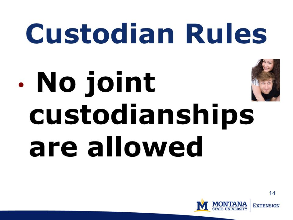 Custodian Rules No joint custodianships are allowed 14
