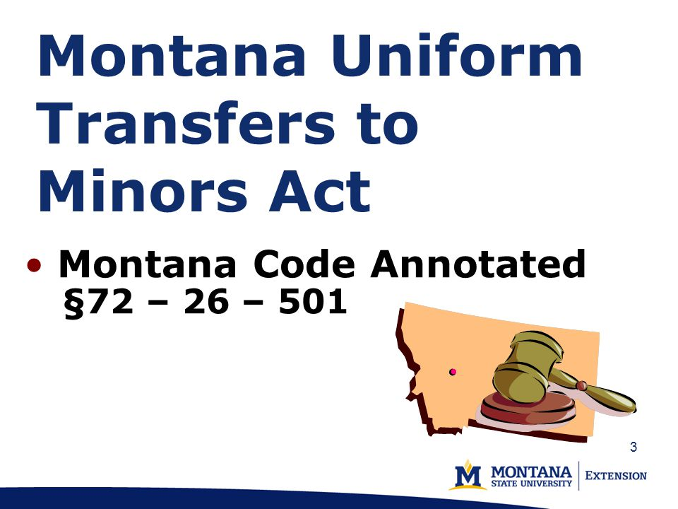 Montana Uniform Transfers to Minors Act Montana Code Annotated §72 – 26 – 501 3