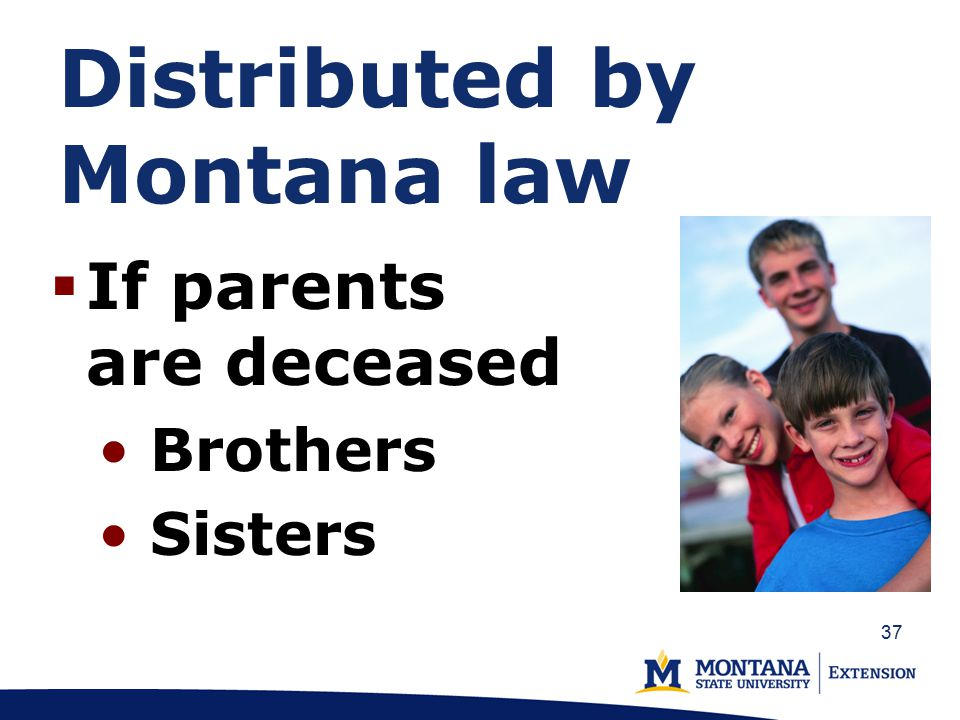 Distributed by Montana law  If parents are deceased Brothers Sisters 37