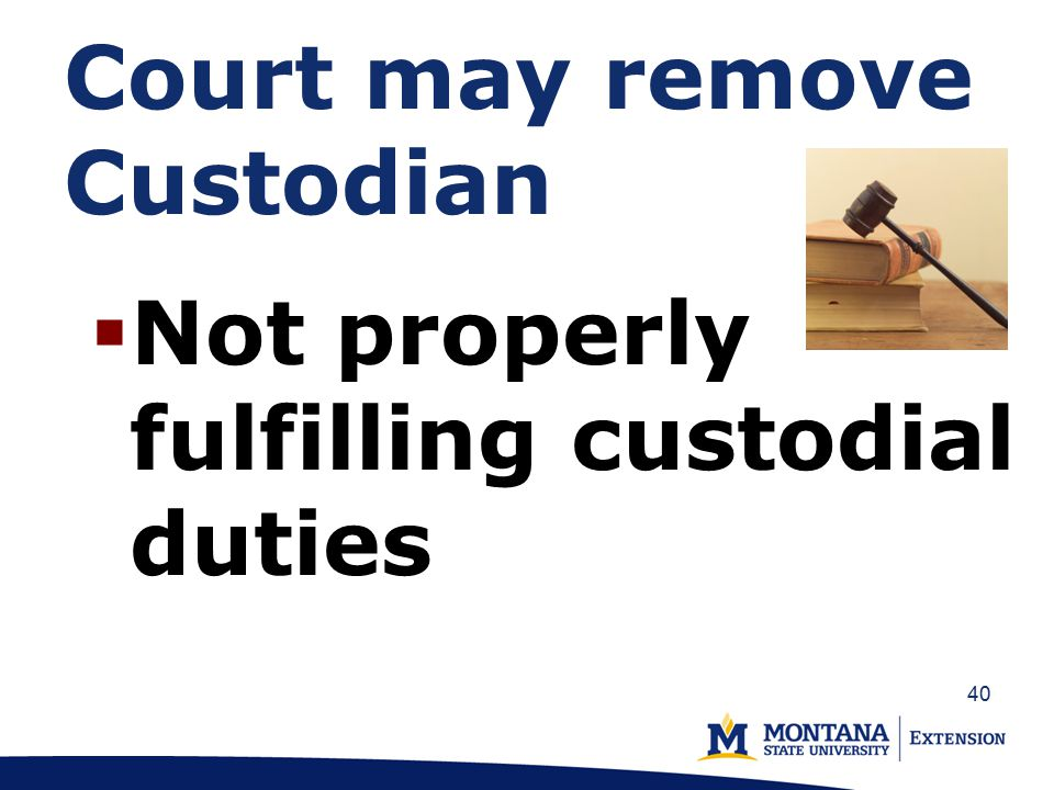 Court may remove Custodian  Not properly fulfilling custodial duties 40