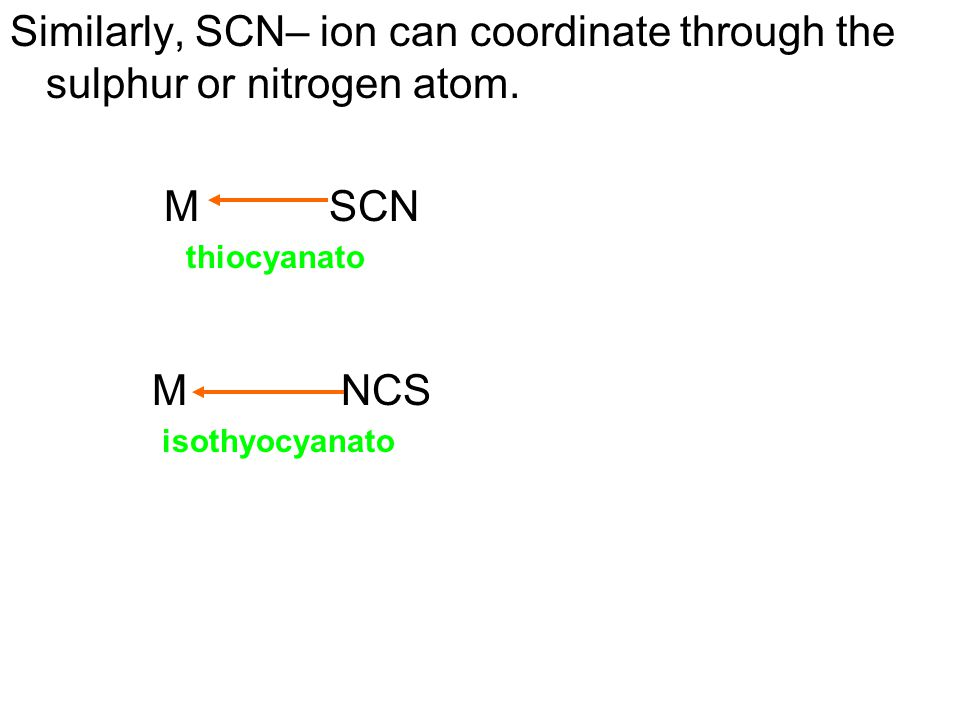 Similarly, SCN– ion can coordinate through the sulphur or nitrogen atom.
